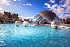 City of Arts and Sciences. In Valencia. A complex of buildings created by the architect calatrava Stock Photos
