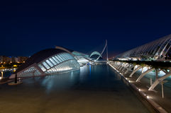 The City of Arts and Sciences in Valencia, Spain. An architectural masterpiece of Santiago Calatrava. The ensemble of museums, art galleries, covered gardens stock photos