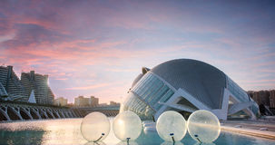City of Arts and Sciences in Valencia in sunset, L'Hemisferic and El Palau de les Arts Reina Sofia, Spain Stock Image