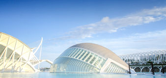 City of Arts and Sciences in Valencia in sunset, L'Hemisferic and El Palau de les Arts Reina Sofia, Spain Royalty Free Stock Image