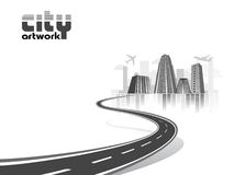 City artwork concept. Abstract city concept flying over ground with skycrapers and buildings Stock Photo