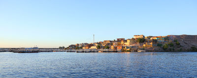 The city of Aswan. And view behind the old Aswan dam Royalty Free Stock Photo