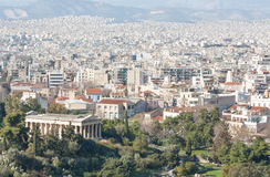 City of Athens with mountains on the background. View of the city of Athens as seen from Areopagus or Mars Hill with the temple of Hephaistos (also known as Stock Image