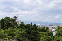 The city of Athens,  with the star observatory in view Royalty Free Stock Photography