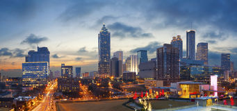 City of Atlanta. Panoramic image of the Atlanta skyline during sunrise Royalty Free Stock Photos