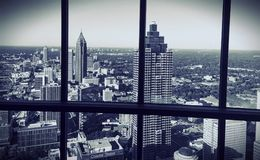 City Of Atlanta from Polaris Black and White. Black and white image of Atlanta, Georgia from Polaris restaurant at the top of the Westin Hotel Stock Photos