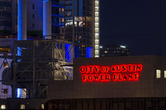 City of Austin Power Plant at Night Royalty Free Stock Photography