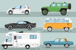 City auto vehicle isolated vector set Stock Photos
