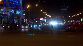 City automobile traffic. At night,timelapse stock video