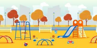 City autumn park with kindergarten kids playground. Vector seamless background. Ooutdoor activities illustration. stock illustration
