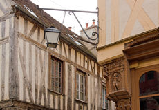City of Auxerre, medieval decoration in the angle Royalty Free Stock Photography