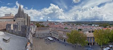 The city of Avignon viewed from atop the Palais des Papes royalty free stock image