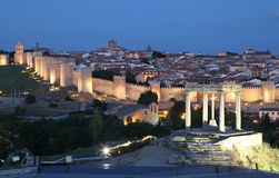 City of Avila at dusk, Spain Stock Image