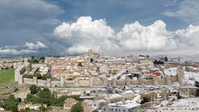 City  Avila. Panorama of the city of Avila contrast of snow and sun Stock Image