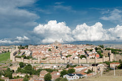 City of avila. View of the walled city of Avila with blue sky Royalty Free Stock Photography