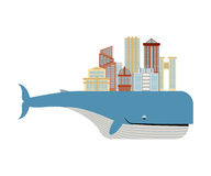 City on back of  whale. Metropolis on big fish. Ecologically cle Royalty Free Stock Image