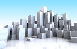 City backgroun. Abstract 3d illustration of city buildings background Stock Photos