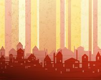 City background. Background  with grunge texture and stylized city drawing Royalty Free Stock Photography