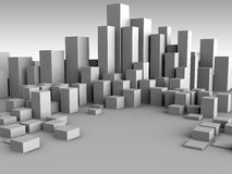City background. Abstract 3d illustration of gray boxes city background stock illustration