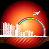 City Background with Airplane. A background image of a city with a rainbow and an airplane Stock Image