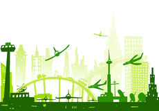 City background with airplanes going to land Stock Image