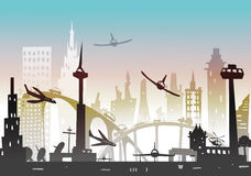 City background with airplanes going to land Royalty Free Stock Photo