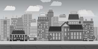 City Background Black and white Landscape for game Stock Images