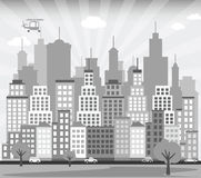 City background (black & white) Stock Image