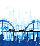 City background with bridges and cars Royalty Free Stock Images