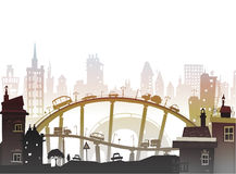 City background with bridges and cars Stock Photo