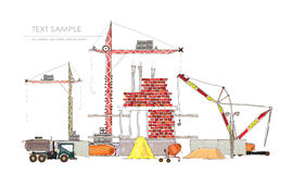 City background with building site and cranes Stock Photography