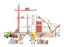 City background with building site and cranes Royalty Free Stock Photo
