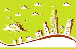 City background with cranes made of paper stickers Royalty Free Stock Photo