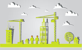 City background with cranes made of paper stickers Royalty Free Stock Photos