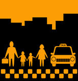 City background with family and taxi car Royalty Free Stock Images