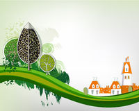 City background with green trees, background Stock Photos