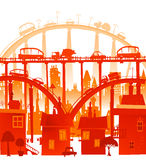 City background with lots of cars on the roads and bridges. Illustration Stock Image