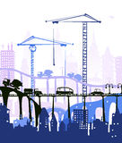 City background with lots of cars on the roads and bridges. Illustration Stock Photos