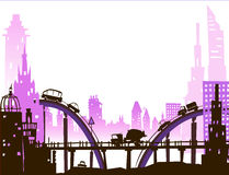 City background with lots of cars on the roads and bridges. Illustration Royalty Free Stock Image
