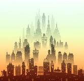 City background made of many building silhouettes Royalty Free Stock Photos