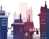 City background made of many building silhouettes Royalty Free Stock Images