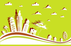 City background  made of paper stickers Royalty Free Stock Images