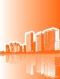 City Background in Orange Stock Photo