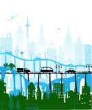 City background with roads, bridges and cars Stock Photo