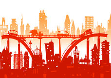 City background with roads, bridges and cars Royalty Free Stock Photo