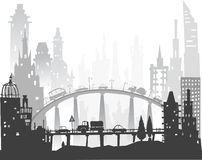 City background with roads, bridges and cars Royalty Free Stock Image