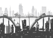 City background with roads, bridges and cars. Illustration Royalty Free Stock Image