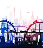 City background with roads, bridges and cars. Illustration stock illustration