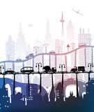 City background with roads, bridges and cars. Illustration Stock Photography