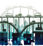 City background with roads, bridges and cars. Illustration royalty free illustration